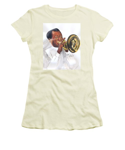 Women's T-Shirt (Junior Cut) featuring the painting Louis Armstrong by Emmanuel Baliyanga