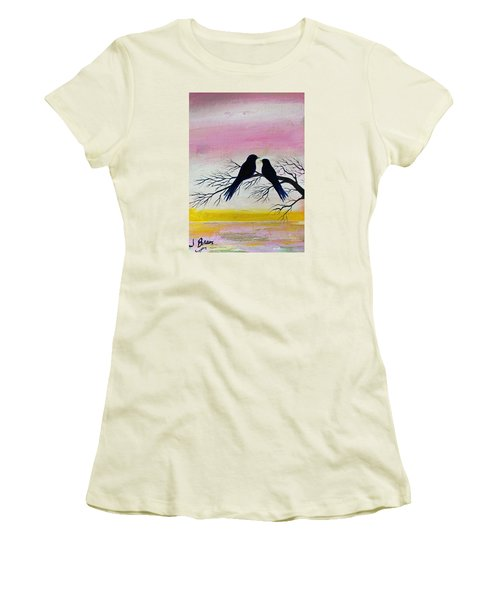 Women's T-Shirt (Junior Cut) featuring the painting Love Birds by Jack G  Brauer