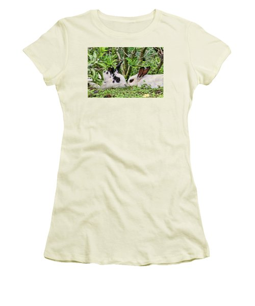 Love Bunnies In Costa Rica Women's T-Shirt (Junior Cut) by Peggy Collins