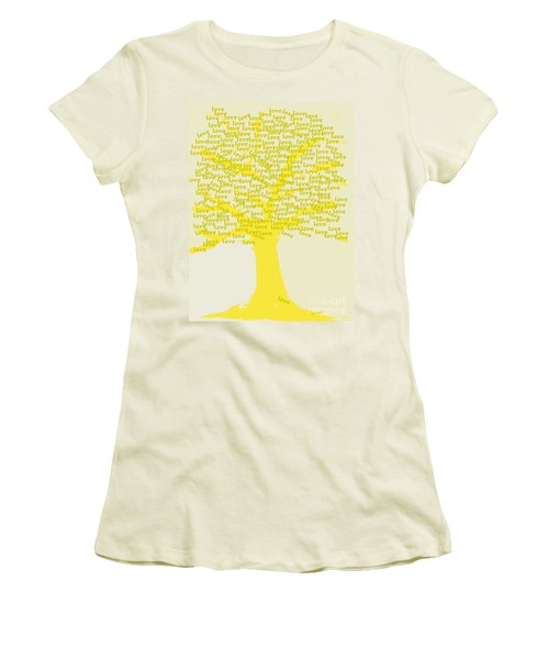 Women's T-Shirt (Junior Cut) featuring the painting Love Inspiration Tree by Go Van Kampen