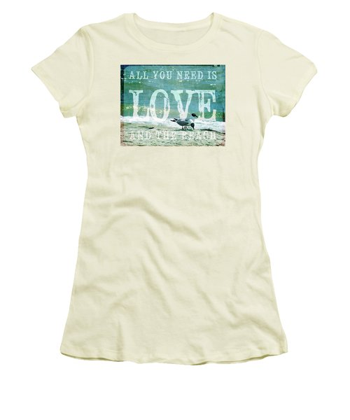 Women's T-Shirt (Junior Cut) featuring the photograph Love The Beach by Jan Amiss Photography
