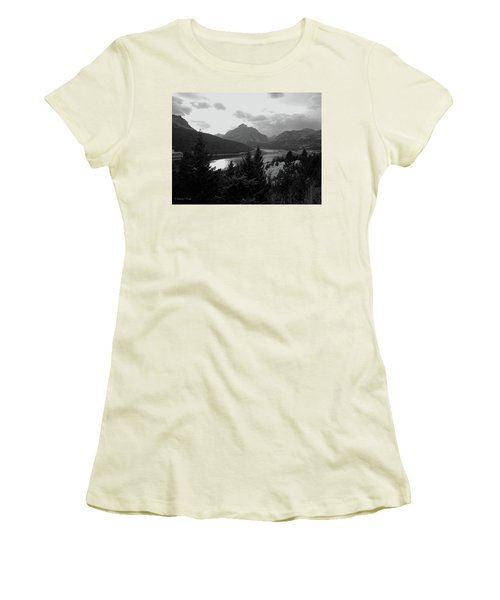 Lower Two Medicine Lake In Black And White Women's T-Shirt (Athletic Fit)