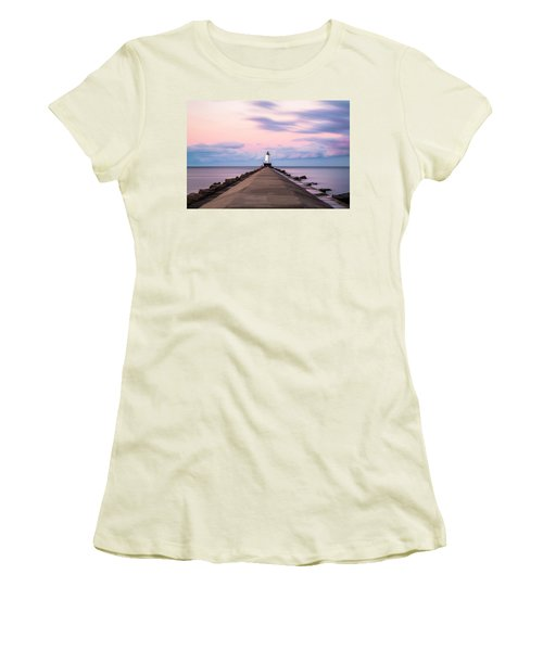 Women's T-Shirt (Junior Cut) featuring the photograph Ludington North Breakwater Light Sunrise by Adam Romanowicz