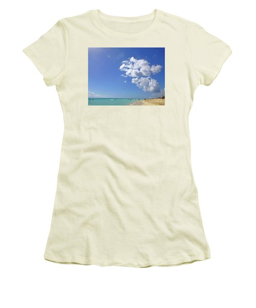Women's T-Shirt (Athletic Fit) featuring the digital art M Day At The Beach 2 by Francesca Mackenney