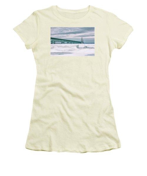 Women's T-Shirt (Junior Cut) featuring the photograph Mackinac Bridge In Winter During Day by John McGraw