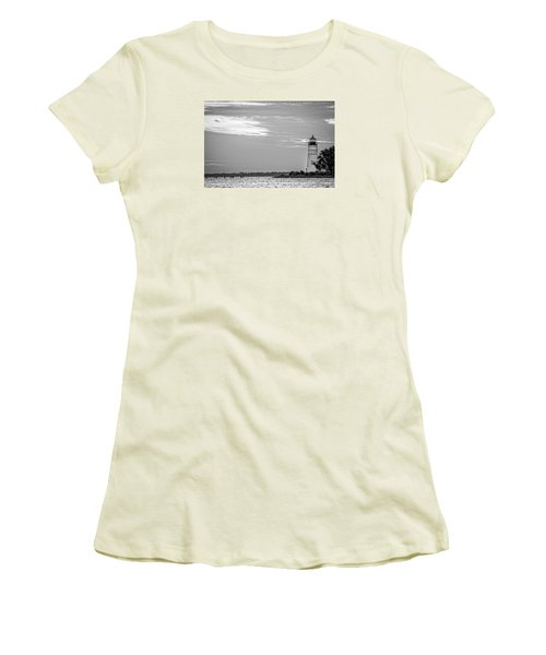 Women's T-Shirt (Junior Cut) featuring the photograph Madisonville Lighthouse In Black-and-white 2 by Andy Crawford