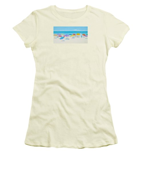 Main Beach East Hampton  Women's T-Shirt (Athletic Fit)