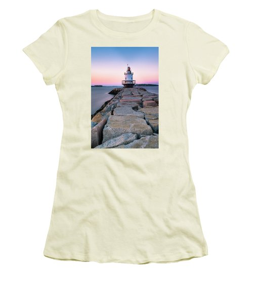 Women's T-Shirt (Junior Cut) featuring the photograph Maine Coastal Sunset Over The Spring Breakwater Lighthouse by Ranjay Mitra