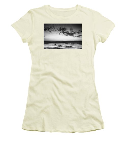 Maine Rocky Coast With Boulders And Clouds At Two Lights Park Women's T-Shirt (Junior Cut) by Ranjay Mitra