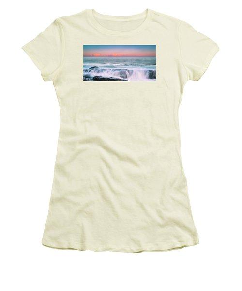 Maine Rocky Coastal Sunset Panorama Women's T-Shirt (Junior Cut) by Ranjay Mitra