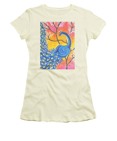 Majestic Peacock Colorful Textured Art Women's T-Shirt (Athletic Fit)