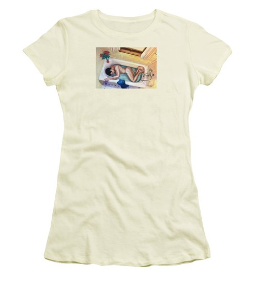 Man In Bathtub #3 Women's T-Shirt (Athletic Fit)