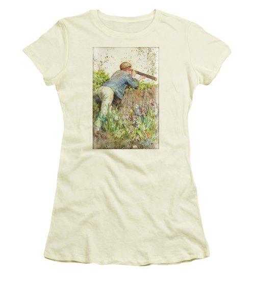 Women's T-Shirt (Junior Cut) featuring the painting Man Looking Through A Telescope by Henry Scott Tuke