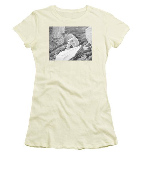 Women's T-Shirt (Athletic Fit) featuring the mixed media Man On The Rocks II by Elizabeth Lock