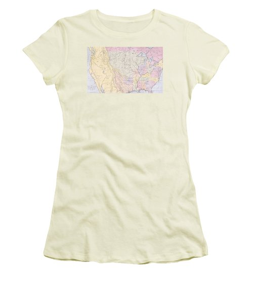 Map Showing The Localities Of The Indian Tribes Of The Us In 1833 Women's T-Shirt (Junior Cut) by Thomas L McKenney and James Hall