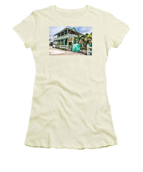 Women's T-Shirt (Junior Cut) featuring the photograph Marin's On Caye Caulker by Lawrence Burry