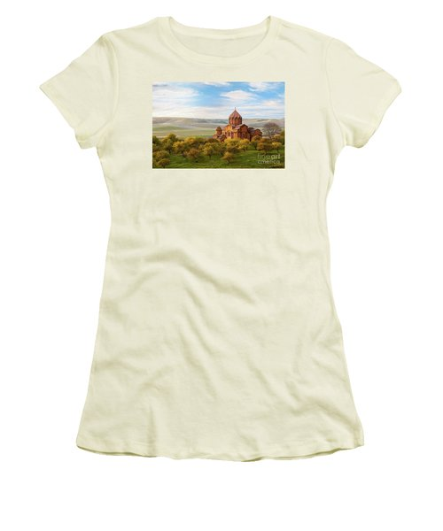 Marmashen Monastery Surrounded By Yellow Trees At Autumn, Armeni Women's T-Shirt (Athletic Fit)