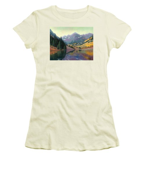 Women's T-Shirt (Junior Cut) featuring the painting Maroon Bells In October by Janet King