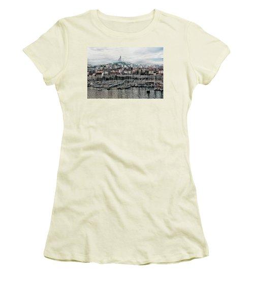 Women's T-Shirt (Junior Cut) featuring the photograph Marseilles France Harbor by Alan Toepfer
