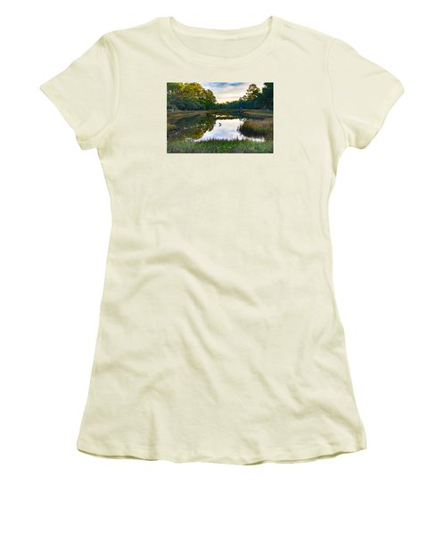 Women's T-Shirt (Junior Cut) featuring the photograph Marsh In The Morning by Patricia Schaefer