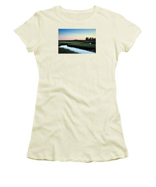 Marsh Sunset Women's T-Shirt (Junior Cut) by Debbie Green
