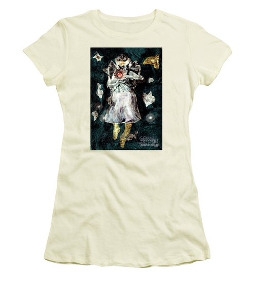 Women's T-Shirt (Junior Cut) featuring the painting Masked Angel Holding The Sun by Genevieve Esson