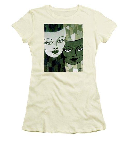 Masks Verde Women's T-Shirt (Junior Cut) by Tara Hutton
