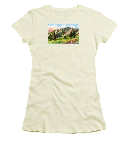 Women's T-Shirt (Junior Cut) featuring the painting Meadow At Chautauqua by Anne Gifford