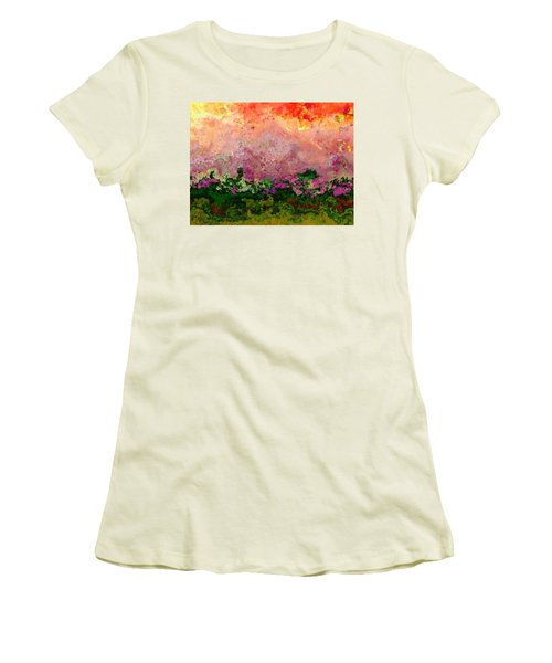 Women's T-Shirt (Junior Cut) featuring the digital art Meadow Morning by Wendy J St Christopher