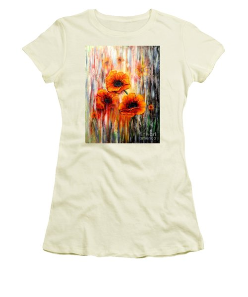 Melting Flowers Women's T-Shirt (Junior Cut) by Greg Moores