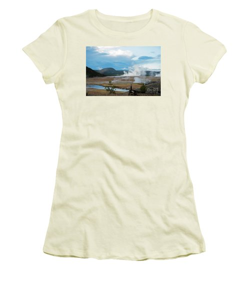 Midway Geyser Area Women's T-Shirt (Junior Cut) by Cindy Murphy - NightVisions