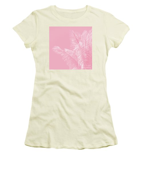 Women's T-Shirt (Athletic Fit) featuring the photograph Millennial Pink Illumination Of Heart White Tropical Palm Hawaii by Sharon Mau