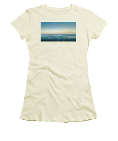 Women's T-Shirt (Athletic Fit) featuring the photograph Milwaukee Harbor by Randy Scherkenbach