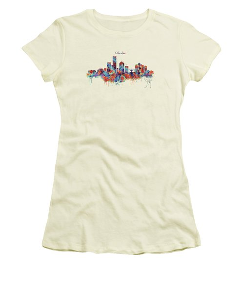 Women's T-Shirt (Junior Cut) featuring the mixed media Milwaukee Watercolor Skyline by Marian Voicu