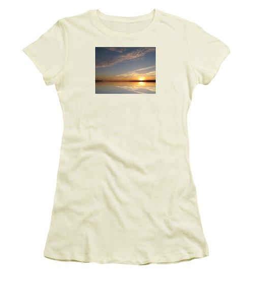 Women's T-Shirt (Junior Cut) featuring the photograph Mirror Lake Sunrise  by Lyle Crump