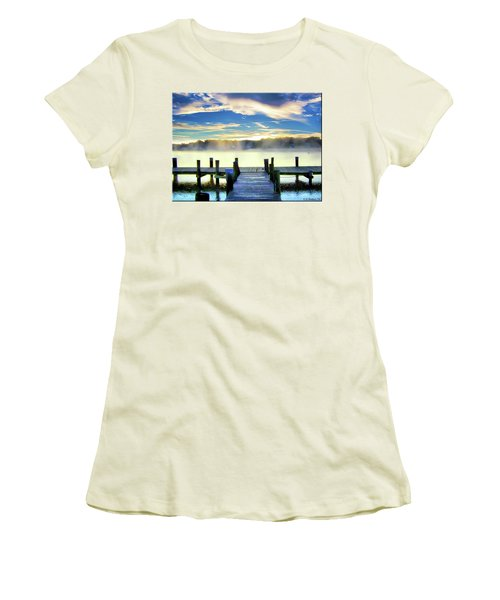 Women's T-Shirt (Junior Cut) featuring the photograph Misty Morning On Rock Creek by Brian Wallace
