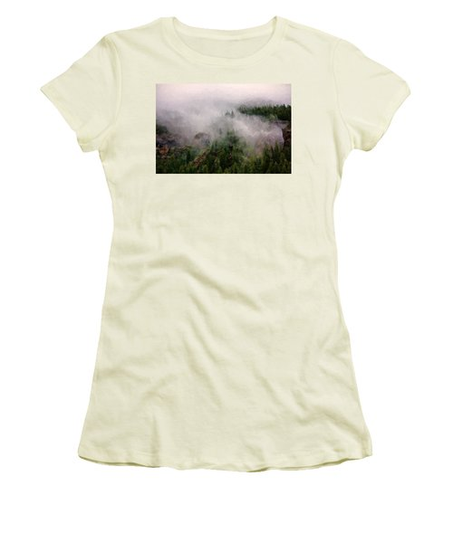 Misty Pines Women's T-Shirt (Junior Cut) by Lana Trussell