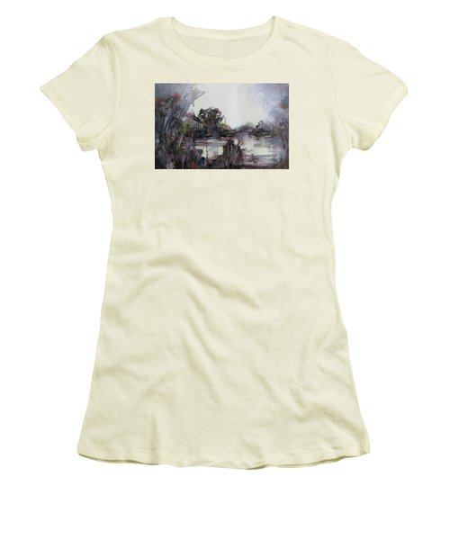 Women's T-Shirt (Junior Cut) featuring the painting Misty Pond by Geni Gorani