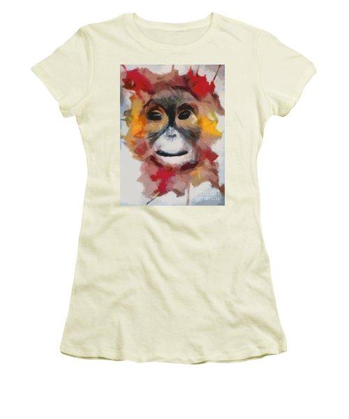 Monkey Splat Women's T-Shirt (Junior Cut) by Catherine Lott