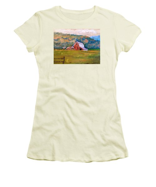 Montana Barn Women's T-Shirt (Junior Cut) by Larry Hamilton