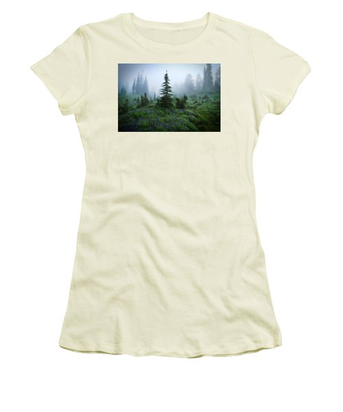 Moody Myrtle Falls Trail At Mount Rainier Women's T-Shirt (Junior Cut) by Lynn Hopwood
