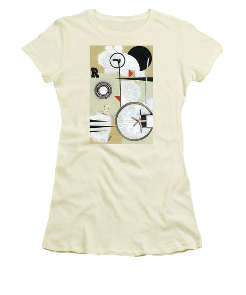 Women's T-Shirt (Junior Cut) featuring the painting Moon And Stars In Space by Michal Mitak Mahgerefteh
