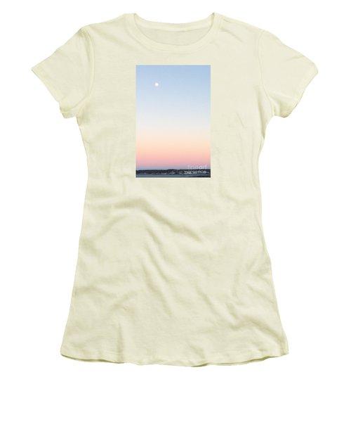 Moon In Twilight Sky Women's T-Shirt (Junior Cut) by Patricia E Sundik
