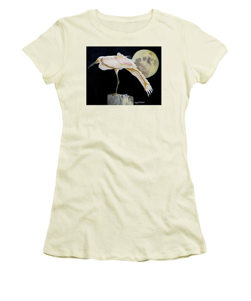 Moon Over Mississippi A Snowy Egrets Perspective Women's T-Shirt (Junior Cut) by Phyllis Beiser