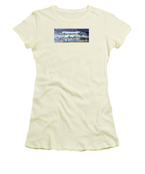 Women's T-Shirt (Junior Cut) featuring the painting Moonlight Swimming On Cape Cod by Rita Brown