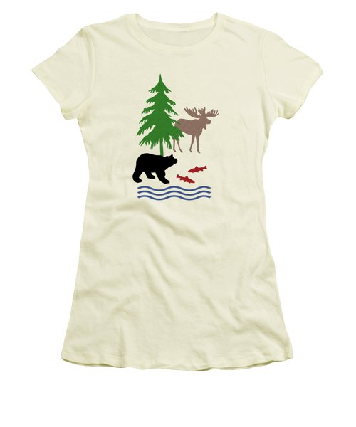 Moose And Bear Pattern Art Women's T-Shirt (Athletic Fit)