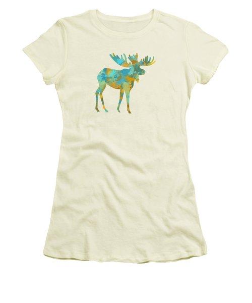 Moose Watercolor Art Women's T-Shirt (Junior Cut) by Christina Rollo