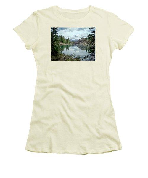 Moraine Lake Canadian Rockies Women's T-Shirt (Junior Cut) by Lynn Bolt