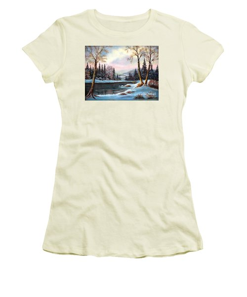 Women's T-Shirt (Junior Cut) featuring the painting Morning Glory by Hazel Holland