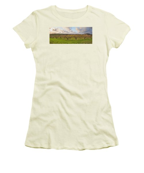 Morning Glory Orchards Women's T-Shirt (Junior Cut) by Angelo Marcialis